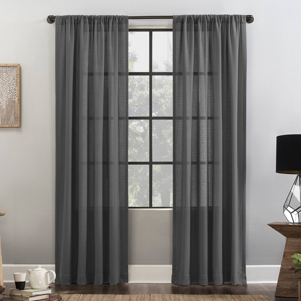 """Image of """"52""""""""x84"""""""" Waffle Texture Anti-Dust Light Filtering Curtain Panel Gray - Clean Window"""""""
