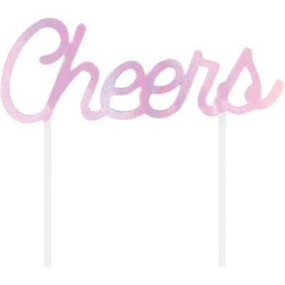 """Cheers"" Iridescent Party Cake Topper"