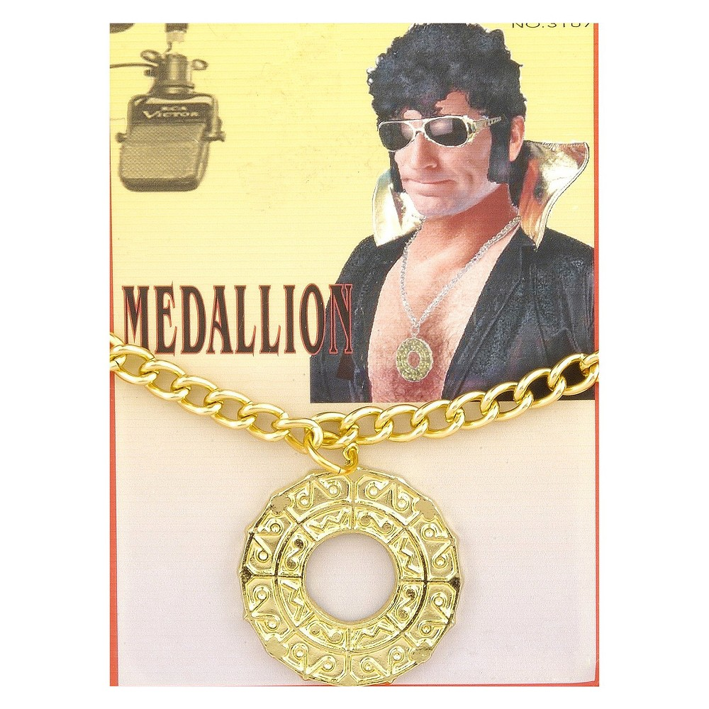 Image of Halloween Adult Disco Medallion Costume Accessory, Adult Unisex, Gold