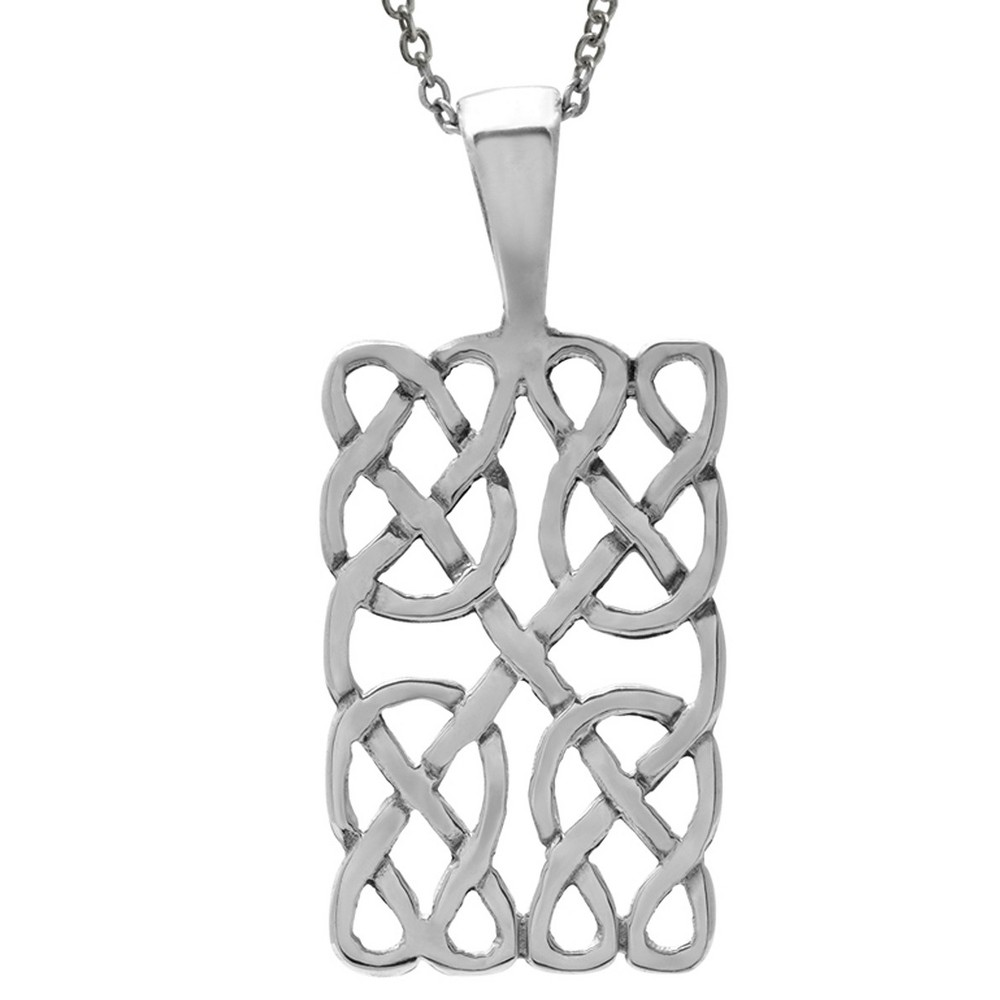 Women's Journee Collection Rectangle Celtic Pendant Necklace in Sterling Silver - Silver (18)