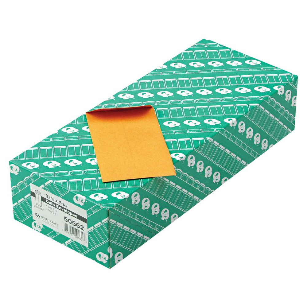 Quality Park Kraft Coin & Small Parts Side Seam Envelope, #5 1/2 - Brown (500 Per Box)