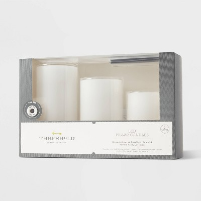 "3pk 6"" x 3"" LED Flameless Black Wick Candles White - Threshold™"
