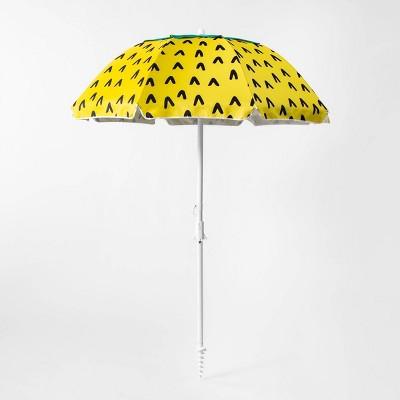 6' Pineapple Beach Umbrella Yellow - Sun Squad™