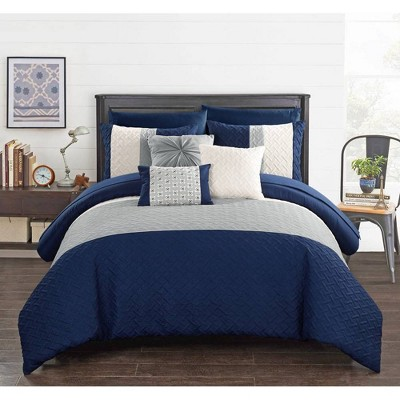 King 10pc Arza Bed In A Bag Comforter Set Navy - Chic Home Design
