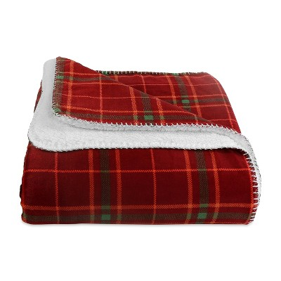 "60""x70"" Reversible Plaid and Sherpa Throw Blanket Wine - Better Living"