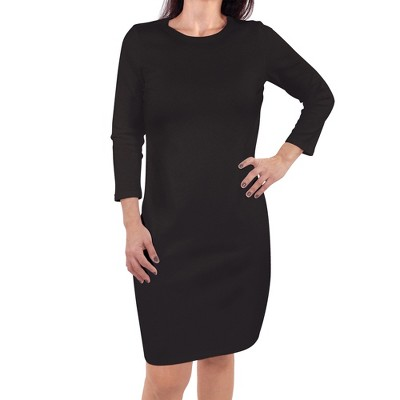 Touched by Nature Womens Organic Cotton Long-Sleeve Dress, Black