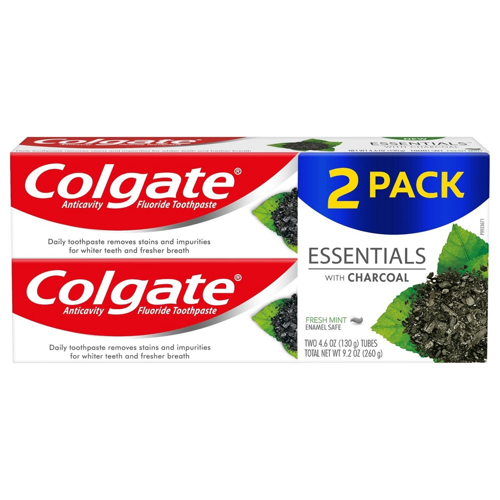 Image of Colgate Essentials Toothpaste with Charcoal - 4.6oz /2pk