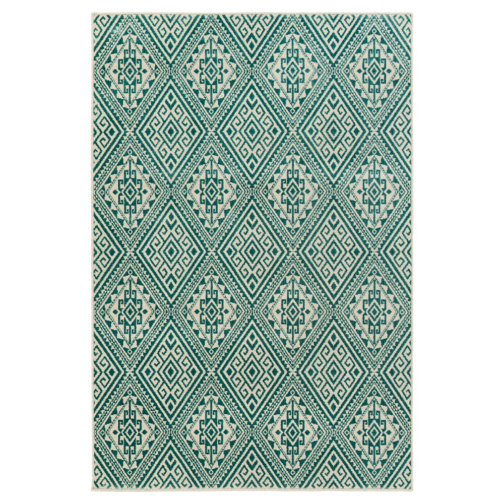 Teal (Blue) Abstract Tufted Area Rug - (9'X13') - Surya