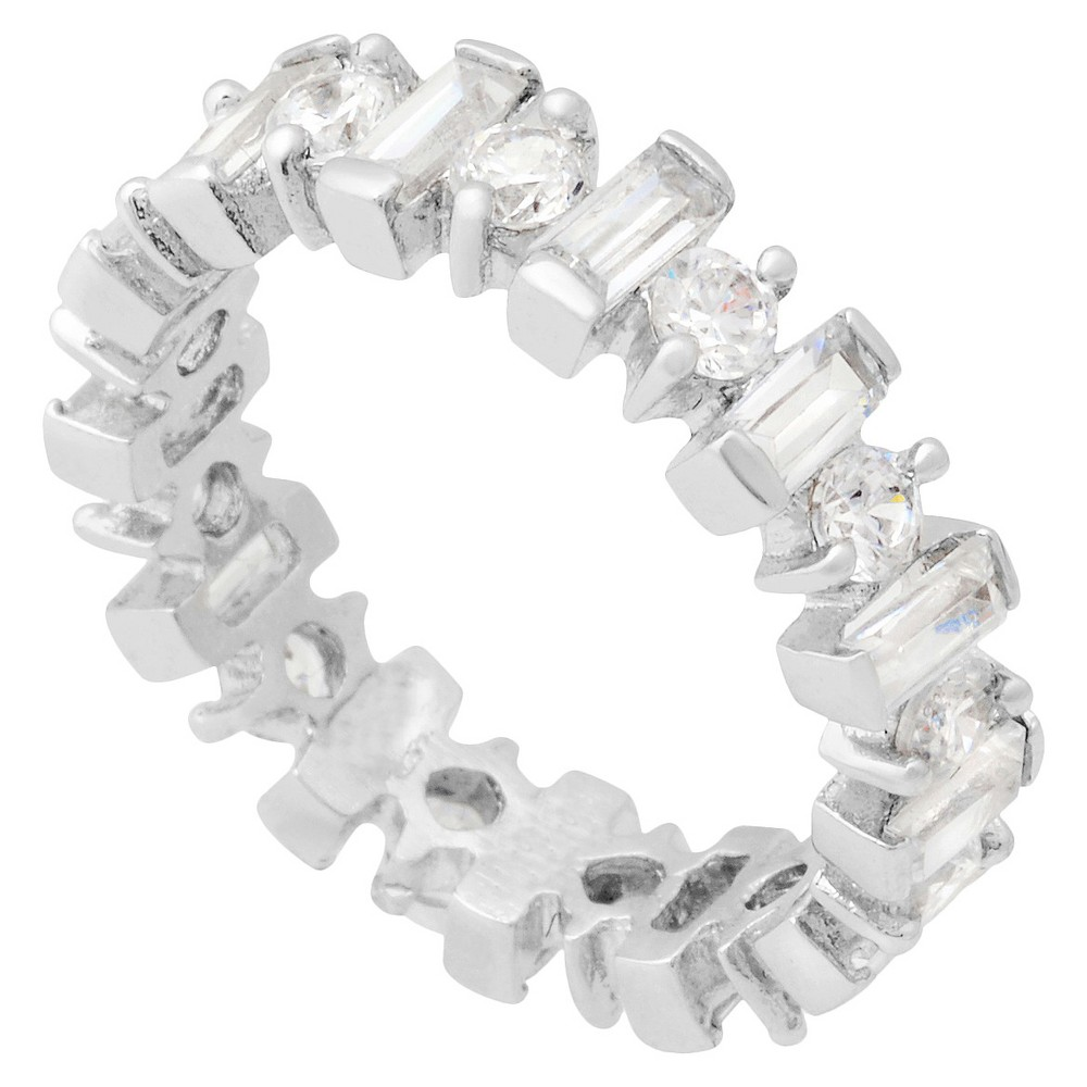3 1/2 CT T.W. Round Cut Cubic Zirconia Basket Set Bridal Style Band in Sterling Silver (9), Women's
