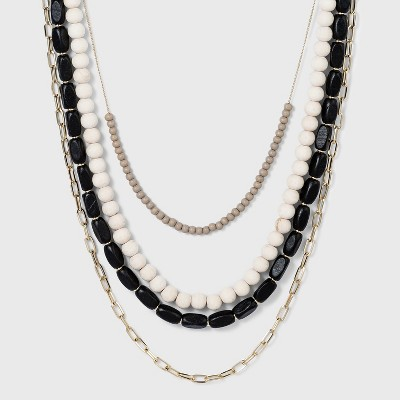 4 Row Long Beaded Necklace - A New Day™ Black
