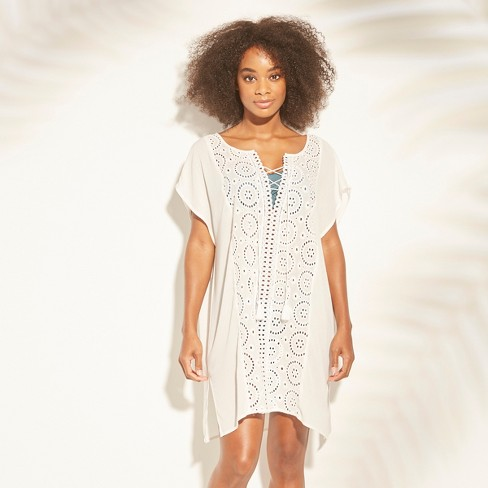 c2747239f00ee Women s Lace-Up Eyelet Cover Up Dress - Kona Sol™   Target