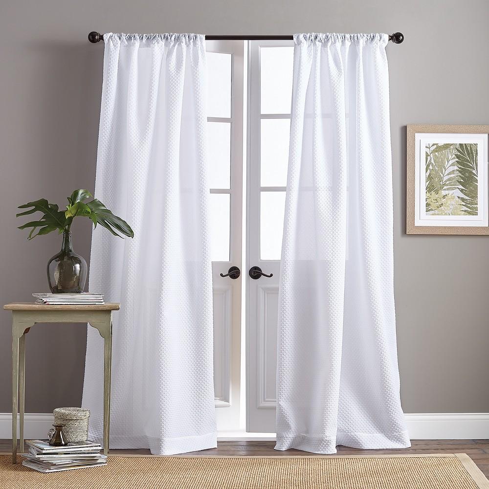 "Image of ""84"""" Venezia Poletop Curtain Panel White"""