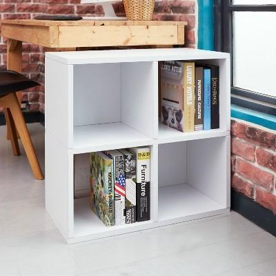 Under Desk Storage, 4 Cubby Bookshelf, Eco Friendly And Formaldehyde Free,  White   Lifetime Guarantee : Target