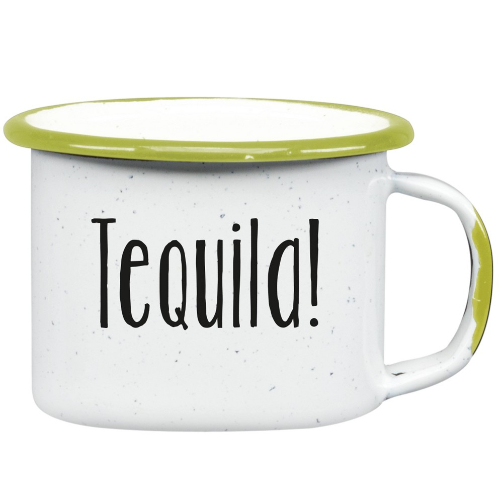 Image of 3oz 6pk Enamelware Tequila Shot Glasses White - Cinsa, Green White