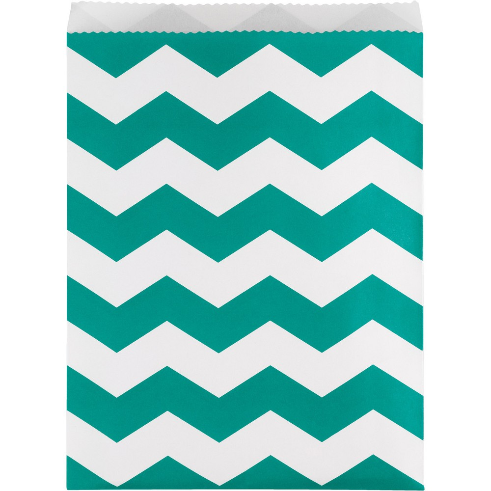 Image of 10ct Chevron Stripe Treat Bags Teal, Green