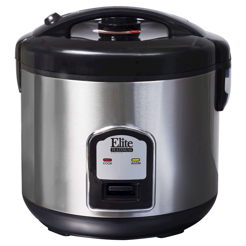 Elite Platinum Stainless Steel 20-Cup Rice Cooker, Medium Silver 49122855