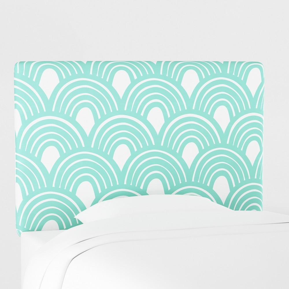 Kids Printed Upholstered Headboard Queen Seafoam Scallop - Pillowfort, Blue