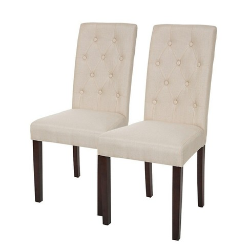 Set of 2 Tufted Back Upholstered Dining Chair - Cream - Glitzhome - image 1 of 4