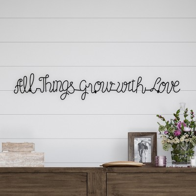 'All Things Grow with Love' Metal Cutout Sign Black - Lavish Home