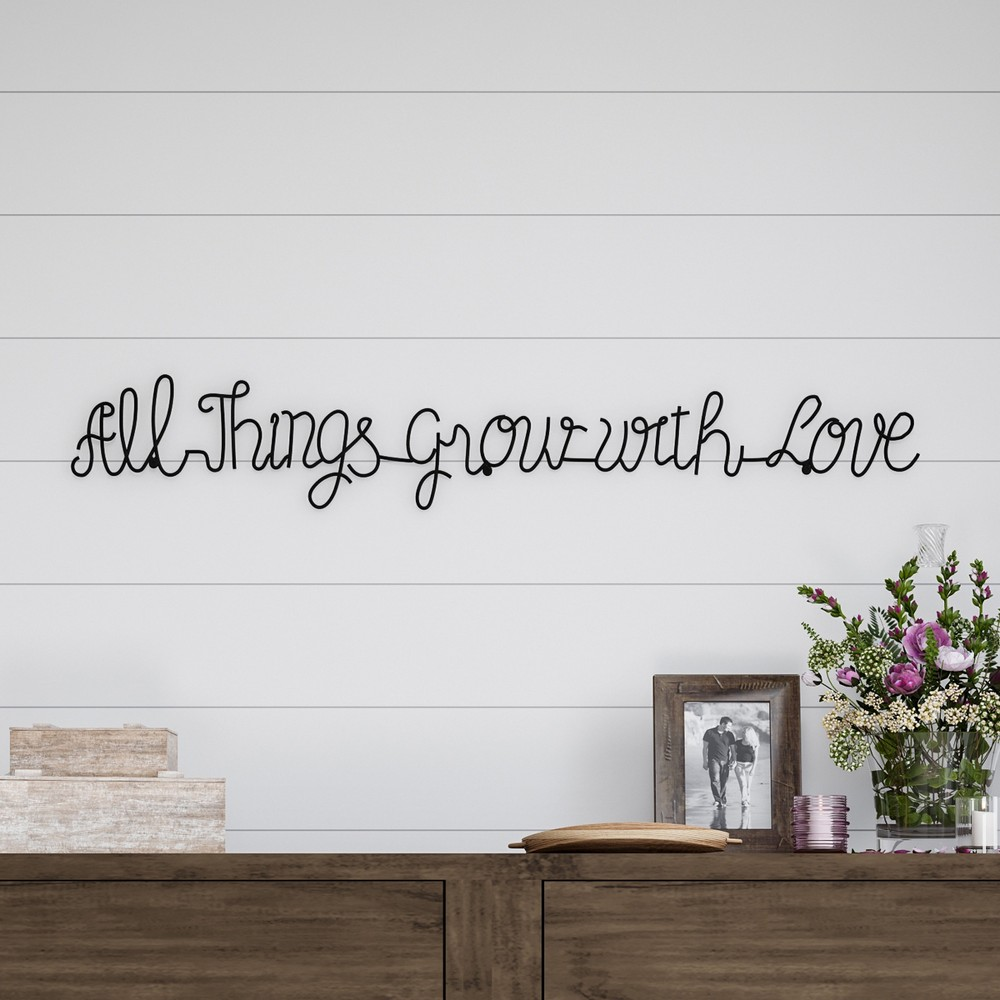 "Image of """"""All Things Grow With Love"""" Metal Cutout Sign Black - Lavish Home"""