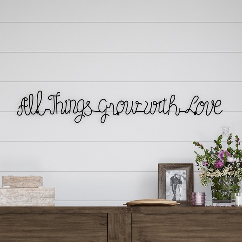 """""""All Things Grow With Love"""" Metal Cutout Sign Black - Lavish Home - image 1 of 3"""