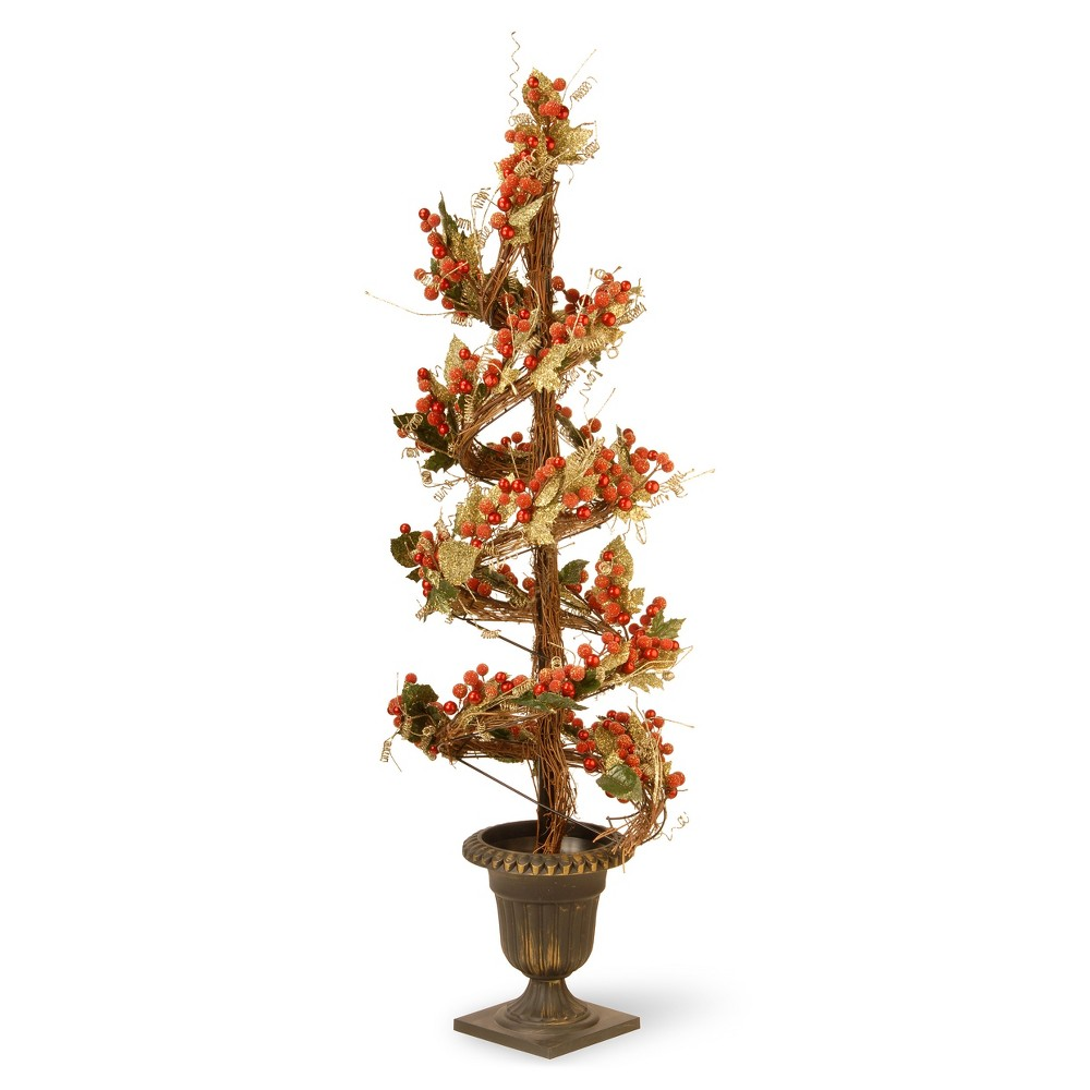 Artificial Berry and Leaf Vine Topiary Red 48 - National Tree Company