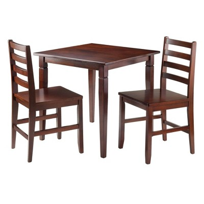 3pc Kingsgate Dining Table with 2 Hamilton Ladder Back Chairs Wood/Brown - Winsome