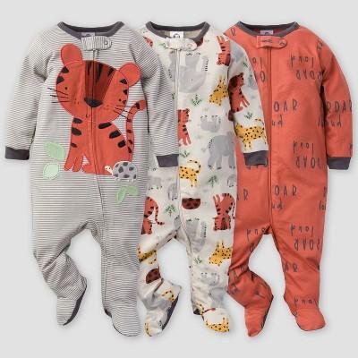 Gerber Baby Boys' 3pk Safari Sleep N' Play - Orange/Gray Newborn
