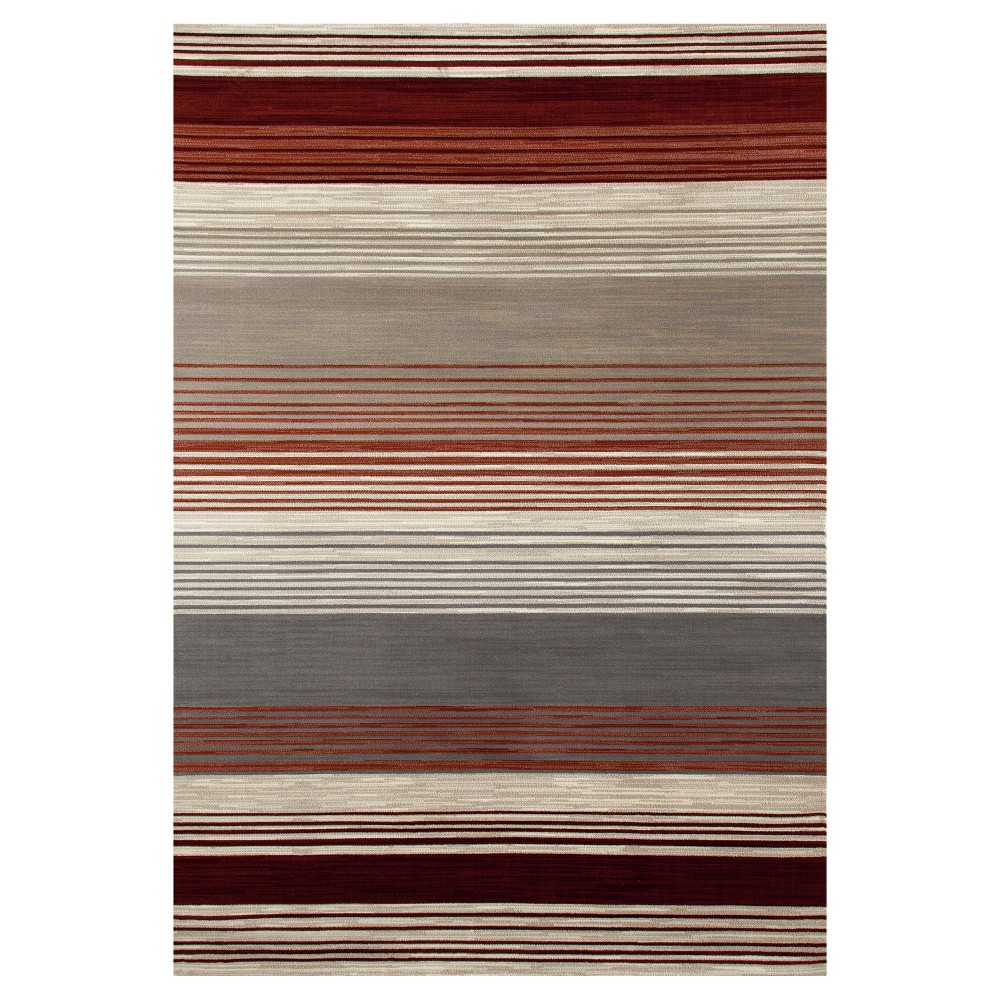Image of Red Stripe Woven Area Rug - (5'X8') - Art Carpet