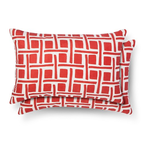 2pk Throw Pillow Lumbar Grid - Room Essentials™ - image 1 of 1