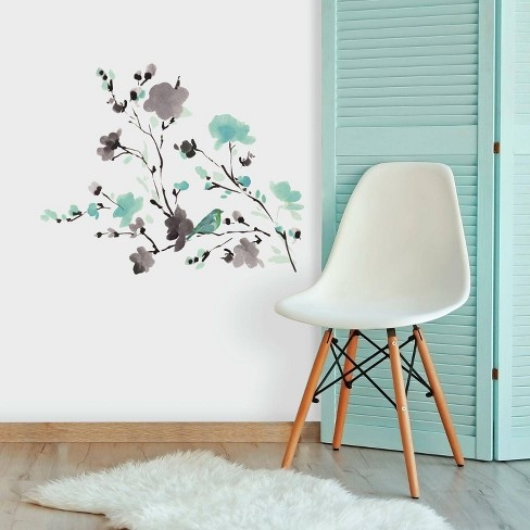 Blossom Watercolor Bird Branch Peel and Stick Wall Decal - RoomMates - image 1 of 4