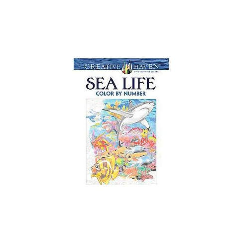Sea Life Color By Number Adult Coloring Book Target