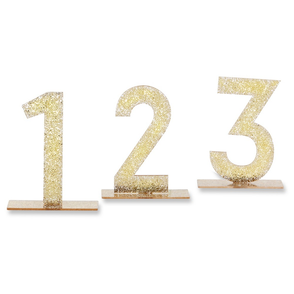 6ct Kate Aspen Gold Glitter Acrylic Table Numbers