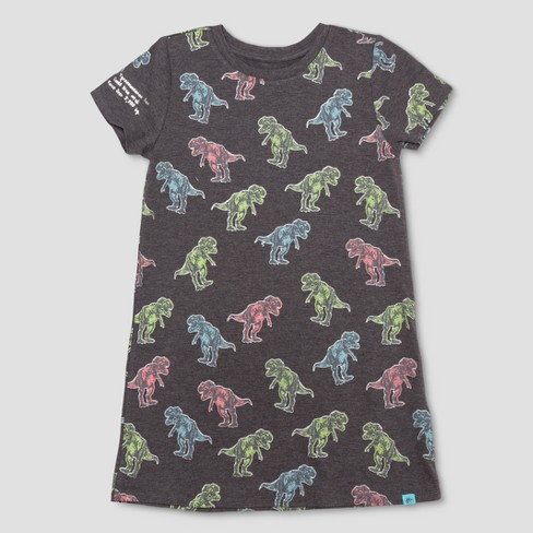 19bc287e7 Girls  Jurassic World Short Sleeve T-Shirt Dress - Charcoal Gray   Target