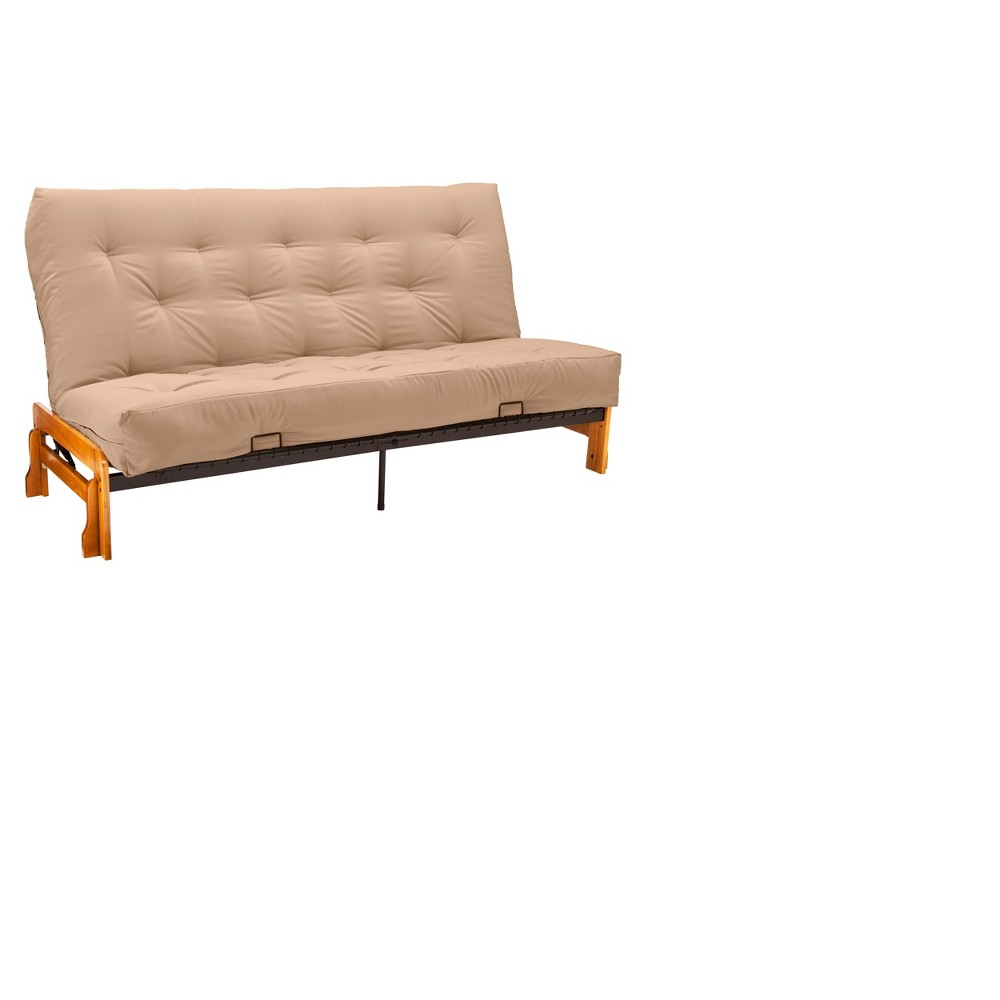 Low Arm 8 Cotton & Foam Futon Sofa Sleeper Oak Wood Finish - Epic Furnishings, Twill Khaki