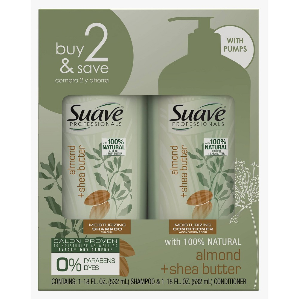 Image of Suave Almond & Shea Butter Moisturizing Shampoo + Conditioner Twin Pack - 18 fl oz - 2ct
