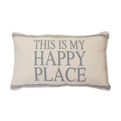 My Happy Place Lumbar Throw Pillow Gray - Décor Therapy