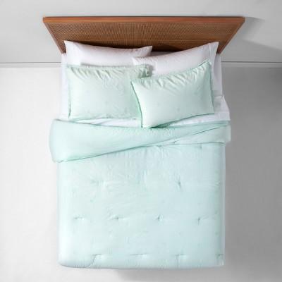 Mint Garment Washed Embroidered Comforter Set (King)- Opalhouse™