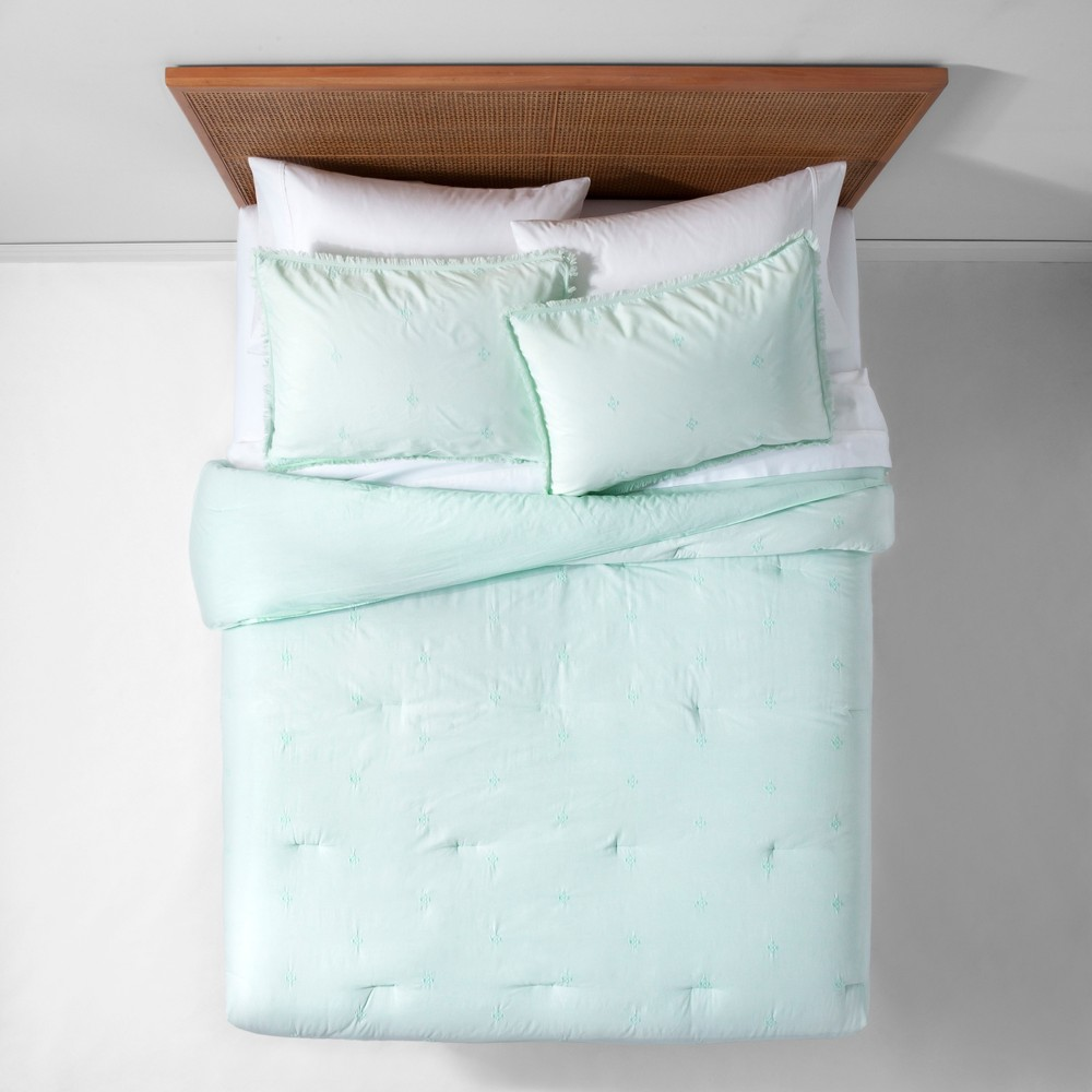 Mint (Green) Garment Washed Embroidered Comforter Set (Twin/Twin XL) - Opalhouse