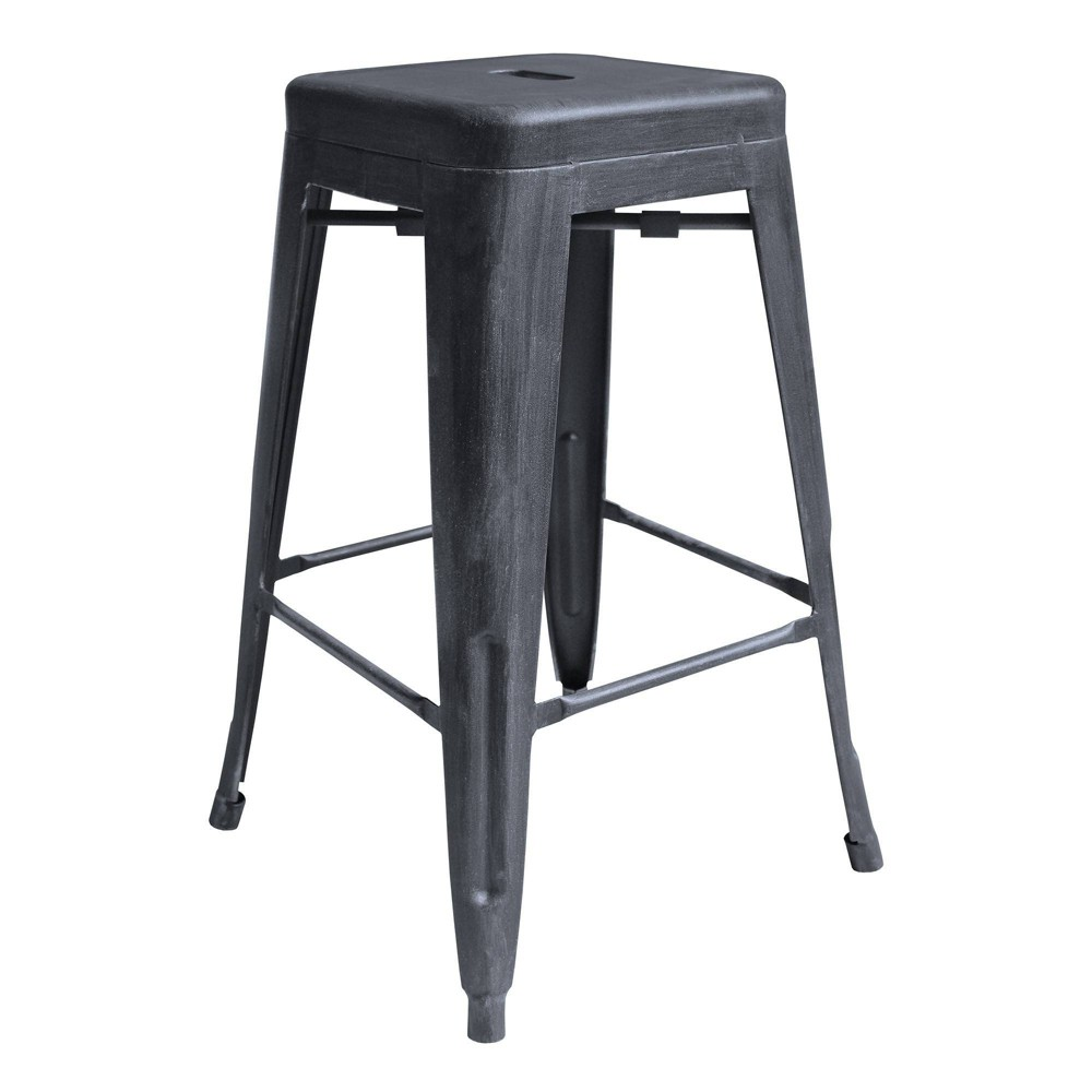 "Image of ""26"""" Faiyum Industrial Counter Height Backless Barstool Industrial Gray - Modern Home"""