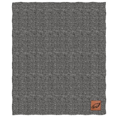 NFL Philadelphia Eagles Two- Tone Sweater Knit Blanket with Faux Leather Logo Patch