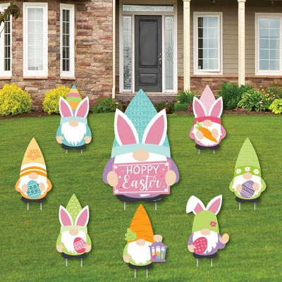 Big Dot of Happiness Easter Gnomes - Yard Sign and Outdoor Lawn Decorations - Spring Bunny Party Yard Signs - Set of 8