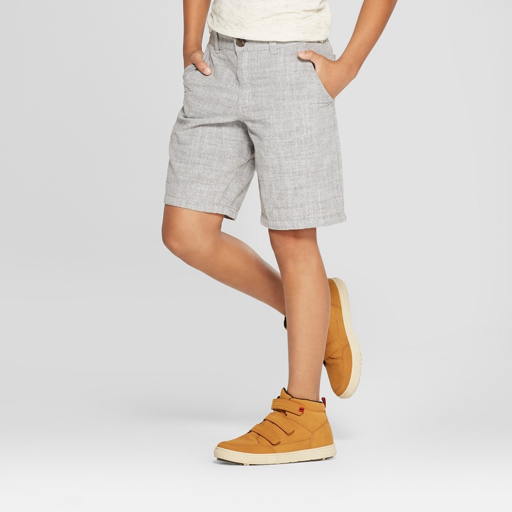 Boys' Chino Shorts - Cat & Jack Light Gray 8 Husky