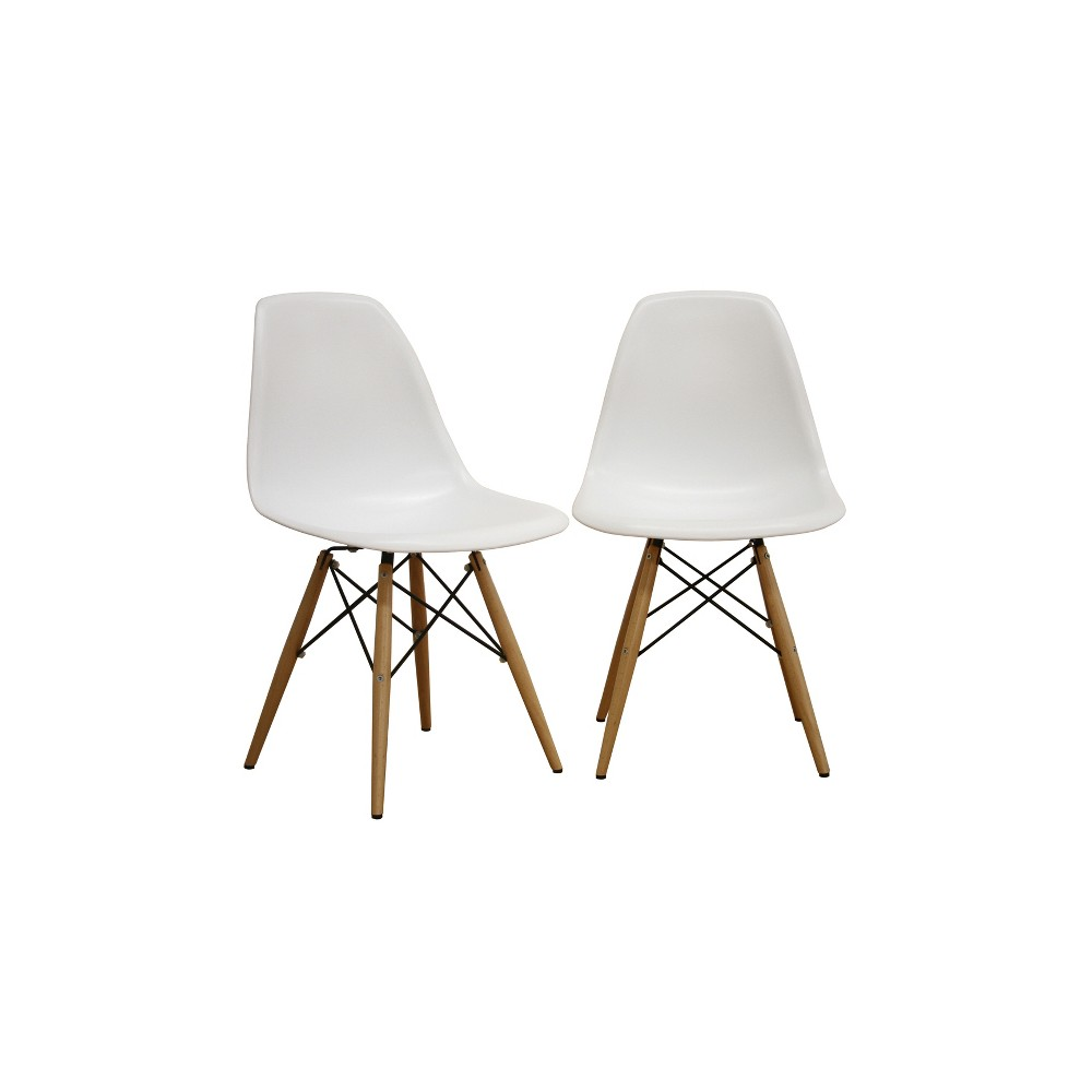 Azzo Plastic Side Dining Chair - White (Set Of 2) - Baxton Studio
