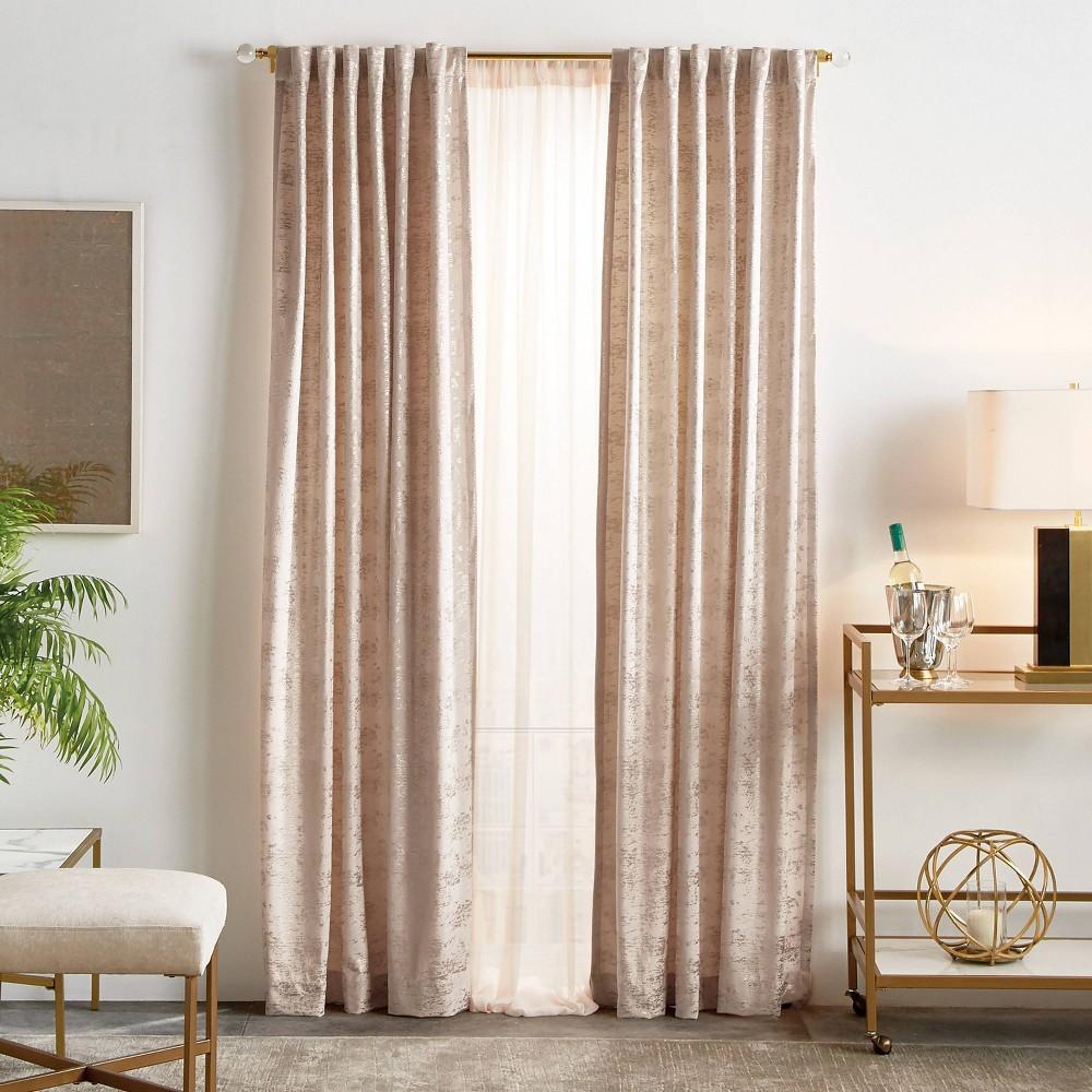 Set Of 2 95 34 X50 34 Monroe Metallic Light Filtering Curtain Panels Blush Martha Stewart
