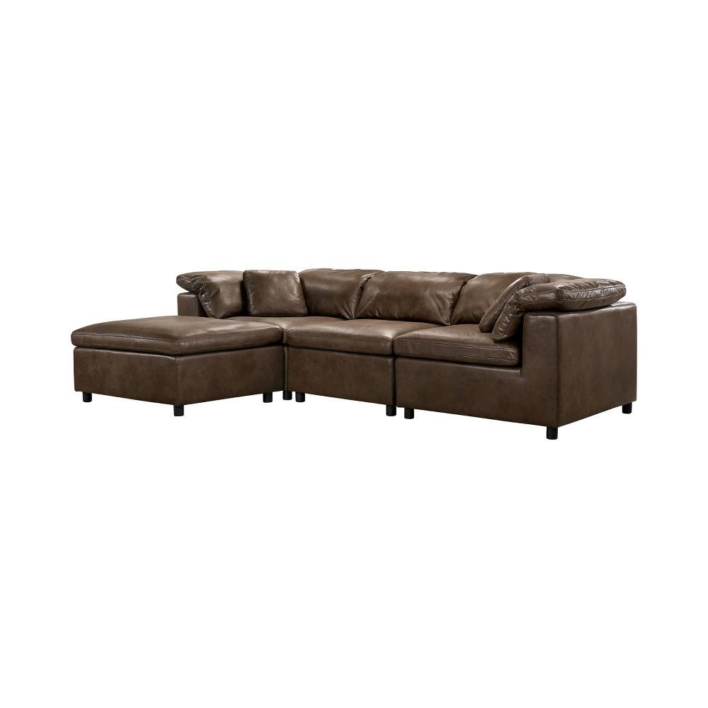 Image of 5pc Merrel Upholstered Sectional Brown - miBasics