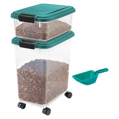 IRIS 3pc Airtight Pet Food Storage Set, Everglade