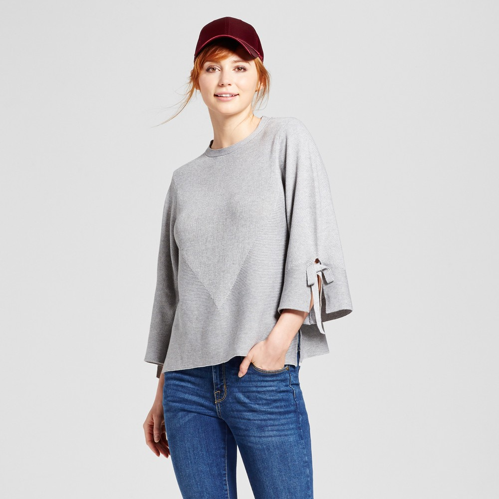 Image of Women's Tie Bell Sleeve Pullover Sweater - Cliché Gray L, Women's, Size: Small