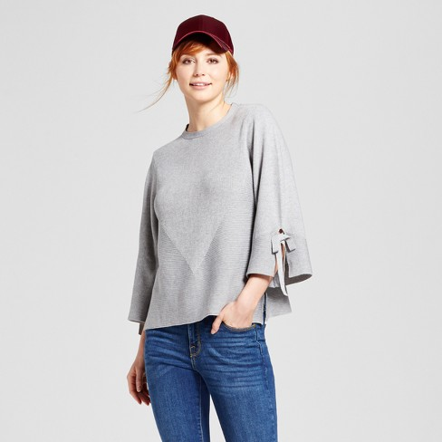 Women's Tie Bell Sleeve Pullover Sweater - Cliche® Gray - image 1 of 2