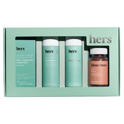 hers Minoxidil 2%, Shampoo, Conditioner, Biotin Hair Kit - 4pc